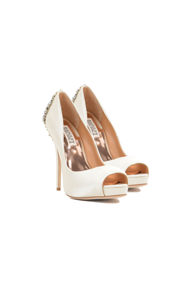 [SELL][KIARA-EMBELLISHED PEEP TOE PUMP-IvorySatin]by BADGLEY MISCHKA